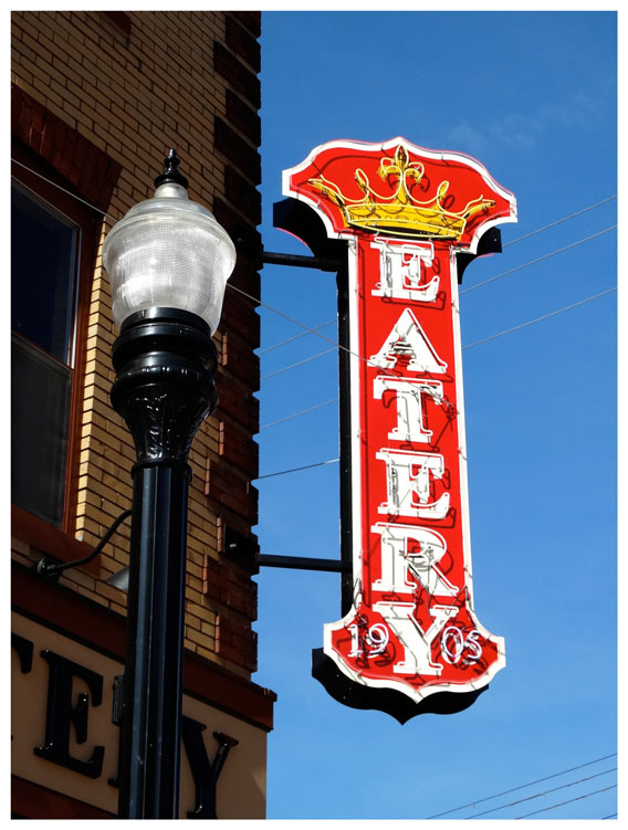 Eatery and Lamppost